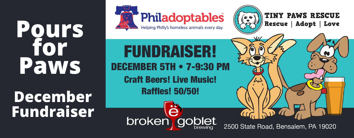 Pours for Paws December Fundraiser
